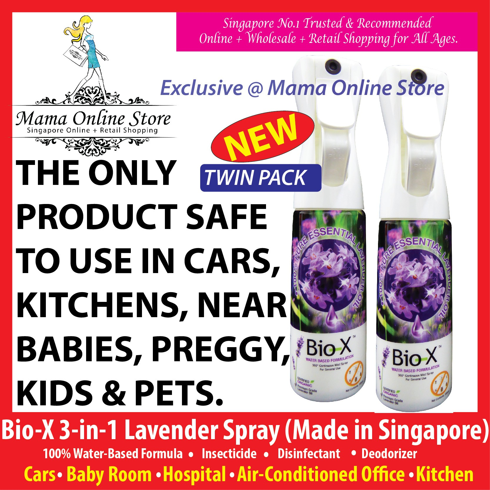 [Bundle of 2] Bio-X 3-in-1 Lavender Spray - Insecticide, Disinfectant, Deodorizer [NON-TOXIC]